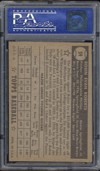 1952 Topps #59 Robin Roberts Black Back PSA 7 NM
