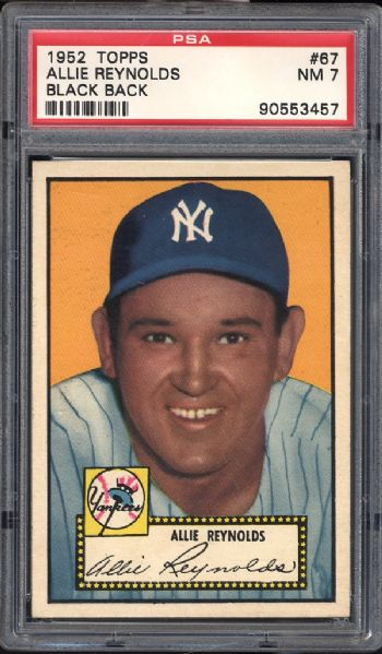 1952 Topps #67 Allie Reynolds Black Back PSA 7 NM