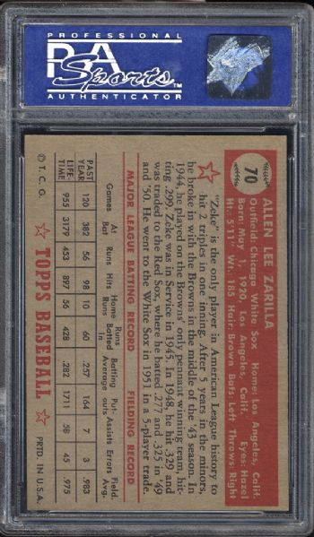 1952 Topps #70 Al Zarilla Red Back PSA 7 NM