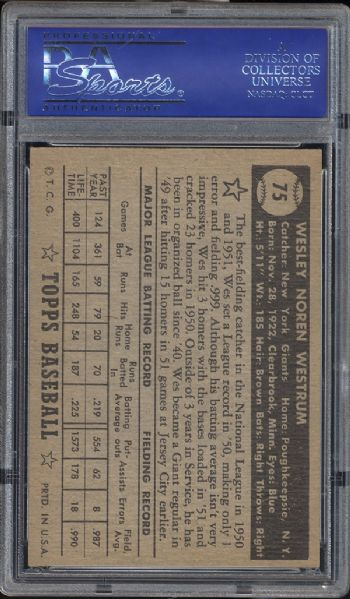 1952 Topps #75 Wes Westrum Black Back PSA 7 NM