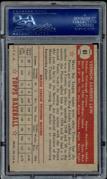 1952 Topps #81 Vernon Law PSA 8 NM/MT