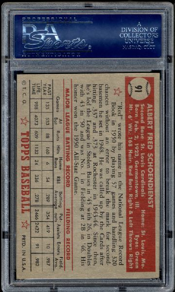 1952 Topps #91 Red Schoendienst PSA 8.5 NM/MT+