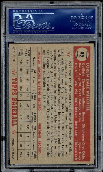 1952 Topps #92 Dale Mitchell PSA 8 NM/MT