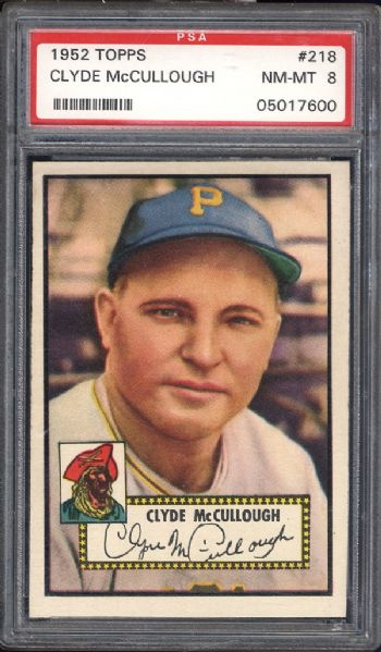 1952 Topps #218 Clyde McCullough PSA 8 NM/MT