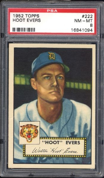 1952 Topps #222 Hoot Evers PSA 8 NM/MT