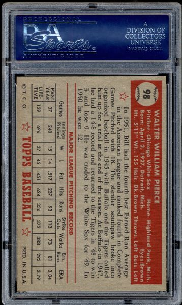 1952 Topps #98 Bill Pierce PSA 8.5 NM/MT+