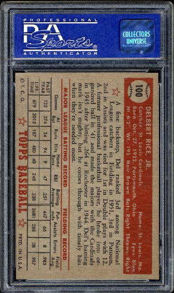 1952 Topps #100 Del Rice PSA 8 NM/MT