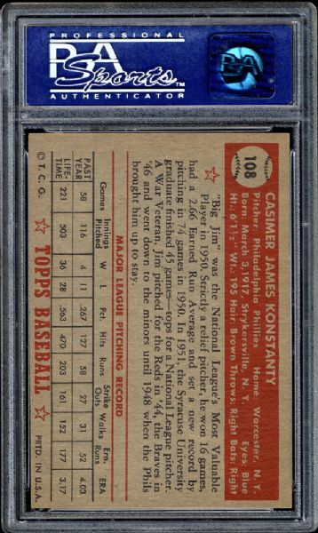 1952 Topps #108 Jim Konstanty PSA 8 NM/MT