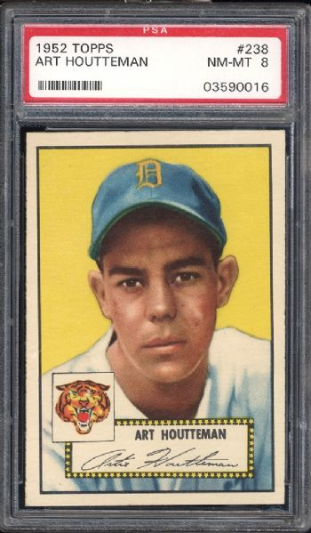 1952 Topps #238 Art Houtteman PSA 8 NM/MT
