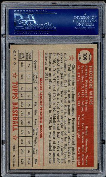 1952 Topps #109 Ted Wilks PSA 8.5 NM/MT+