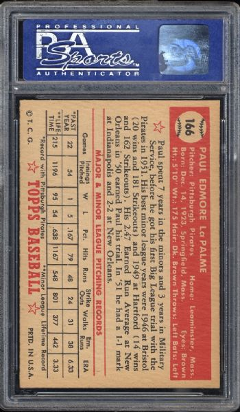 1952 Topps #166 Paul LaPalme PSA 8 NM/MT