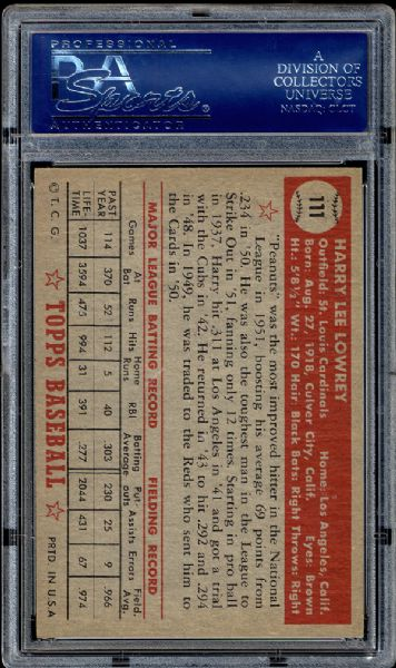 1952 Topps #111 Harry Lowrey PSA 8.5 NM/MT+