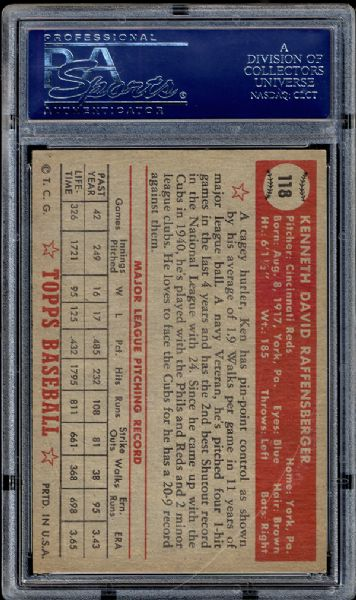 1952 Topps #118 Ken Raffensberger PSA 8 NM/MT