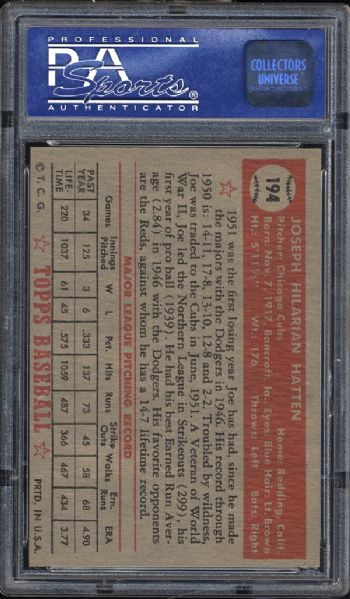 1952 Topps #194 Joe Hatten PSA 8 NM/MT