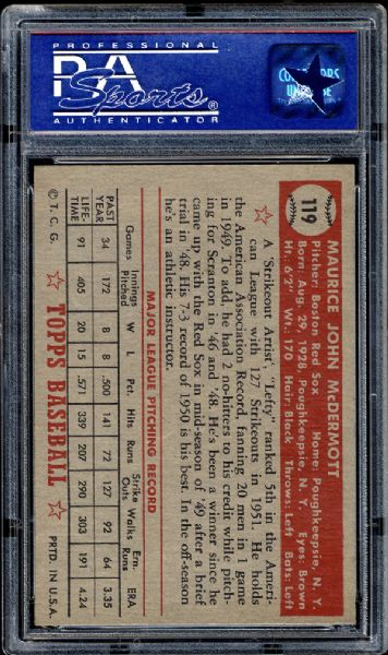 1952 Topps #119 Maurice McDermott PSA 8 NM/MT