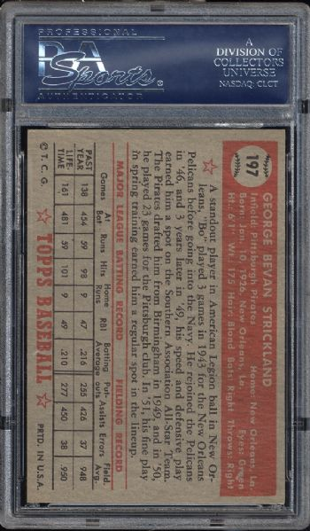 1952 Topps #197 George Strickland PSA 8 NM/MT