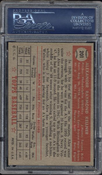 1952 Topps #201 Alex Kellner PSA 8 NM/MT