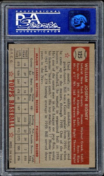 1952 Topps #125 Bill Rigney PSA 8 NM/MT