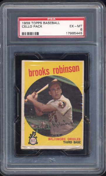 1959 Topps Baseball Cello Pack with Brooks Robinson on Top PSA 6 EX/MT