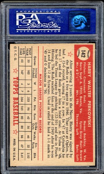 1952 Topps #142 Harry Perkowski PSA 8 NM/MT