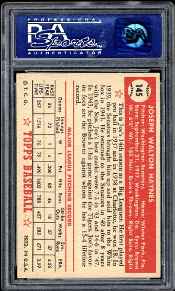 1952 Topps #145 Joe Haynes PSA 8 NM/MT