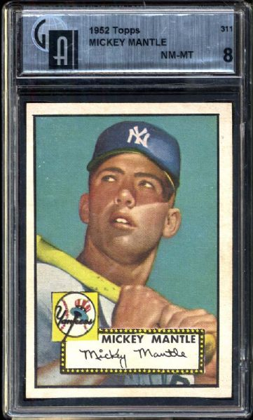 1952 Topps #311 Mickey Mantle GAI 8 NM/MT