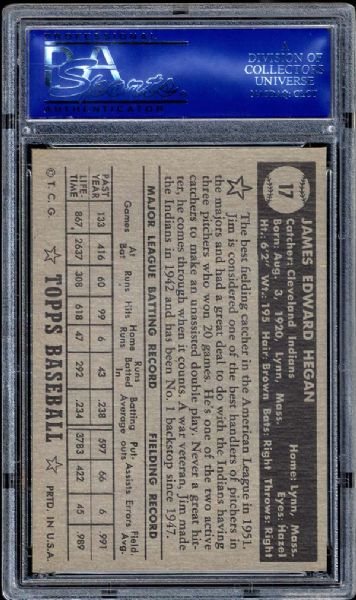 1952 Topps #17 Jim Hegan Black Back PSA 8 NM/MT