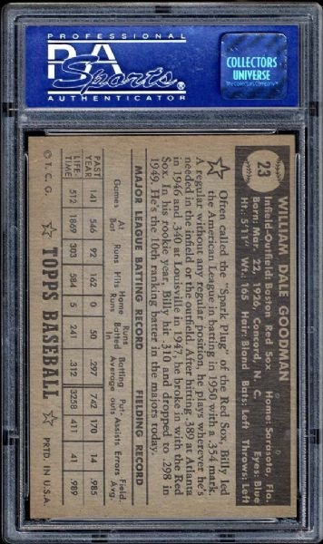 1952 Topps #23 Billy Goodman Black Back PSA 8 NM/MT