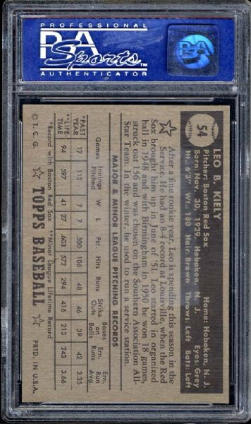 1952 Topps #54 Leo Kiely Black Back PSA 8 NM/MT