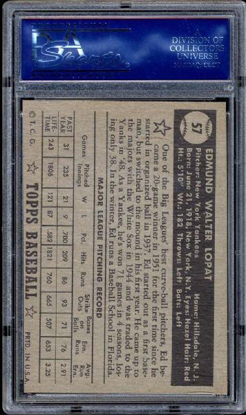 1952 Topps #57 Ed Lopat Black Back PSA 8 NM/MT
