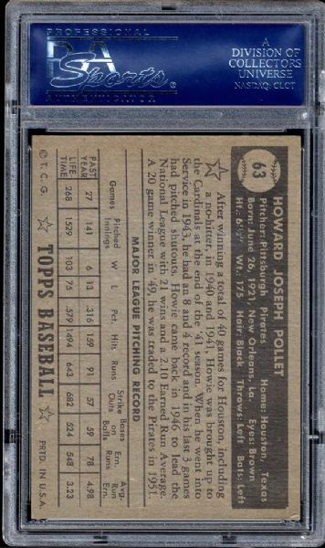1952 Topps #63 Howie Pollet Black Back PSA 8 NM/MT