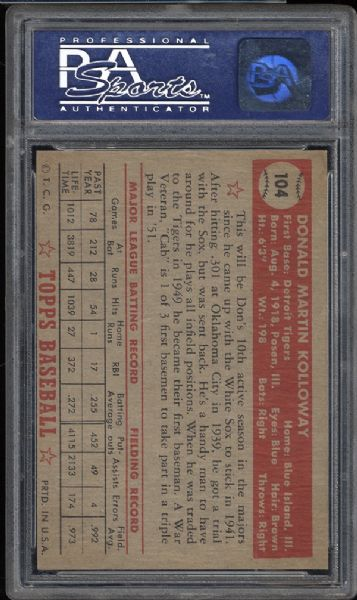 1952 Topps #104 Don Kolloway PSA 8 NM/MT
