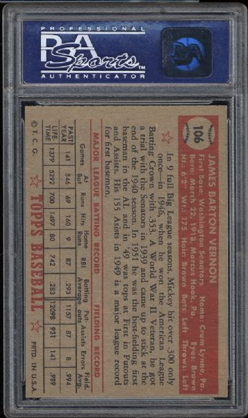 1952 Topps #106 Mickey Vernon PSA 8 NM/MT