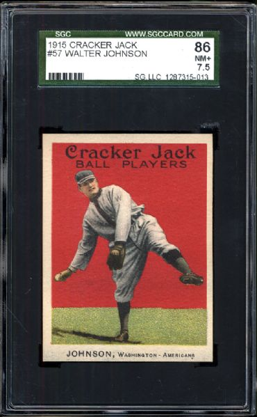1915 Cracker Jack #57 Walter Johnson SGC 86 NM+ 7.5
