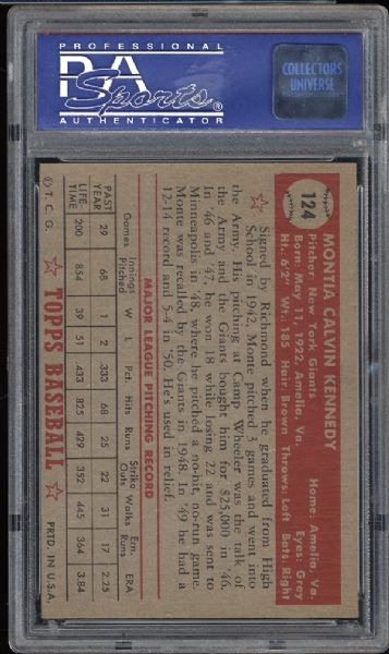 1952 Topps #124 Monte Kennedy PSA 8 NM/MT