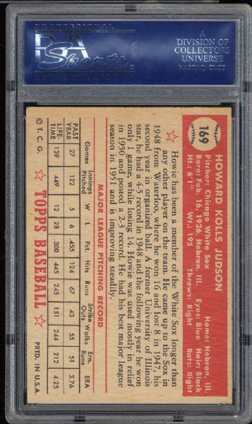 1952 Topps #169 Howie Judson PSA 8 NM/MT