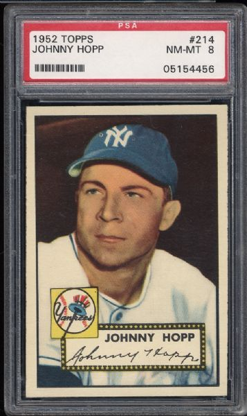 1952 Topps #214 Johnny Hopp PSA 8 NM/MT