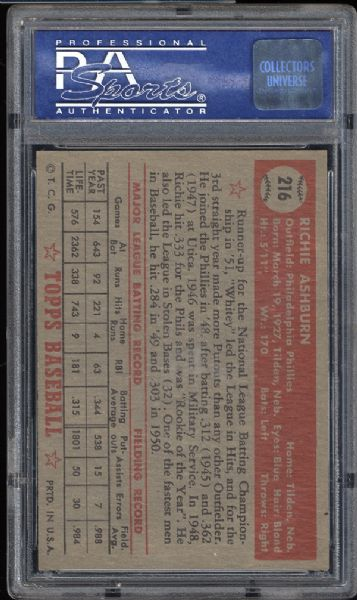 1952 Topps #216 Richie Ashburn PSA 8 NM/MT