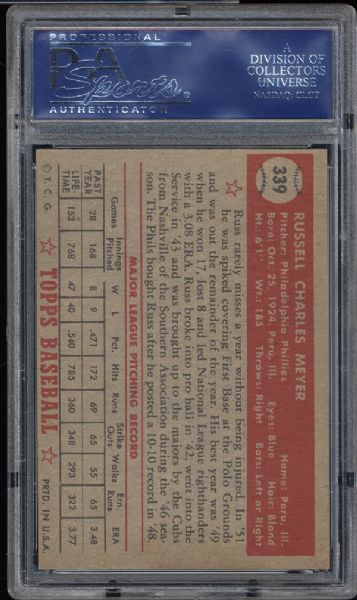 1952 Topps #339 Russ Meyer PSA 8.5 NM/MT+