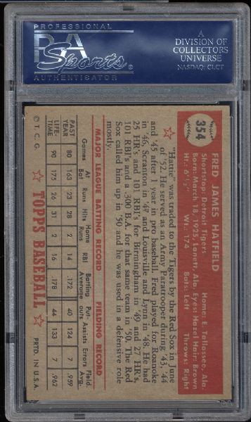 1952 Topps #354 Fred Hatfield PSA 8.5 NM/MT+