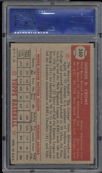 1952 Topps #360 George Crowe PSA 7 NM