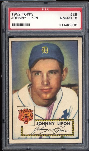 1952 Topps #89 Johnny Lipon PSA 8 NM/MT