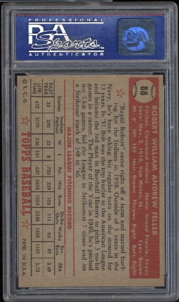 1952 Topps #88 Bob Feller PSA 8 NM/MT