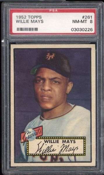 1952 Topps #261 Willie Mays PSA 8 NM/MT