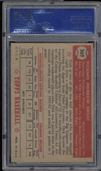 1952 Topps #369 Dick Groat PSA 8 NM/MT