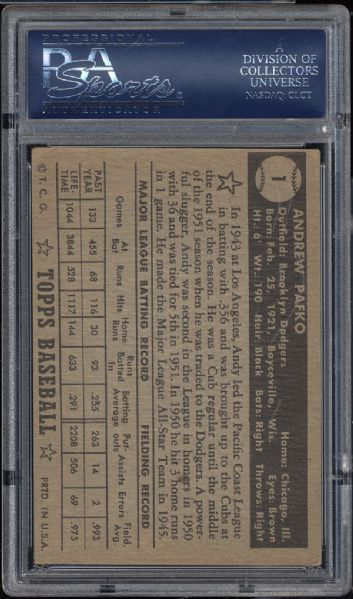 1952 Topps #1 Andy Pafko Black Back PSA 4 VG/EX