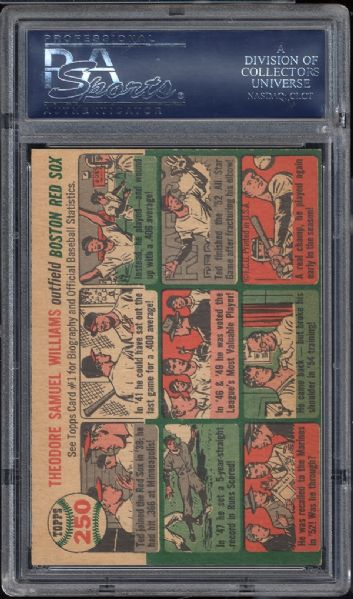 1954 Topps #250 Ted Williams PSA 7 NM