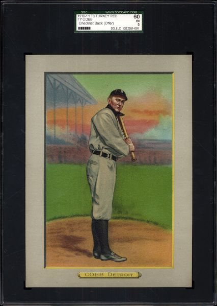 1910-11 T3 Turkey Red Ty Cobb SGC 60 EX 5