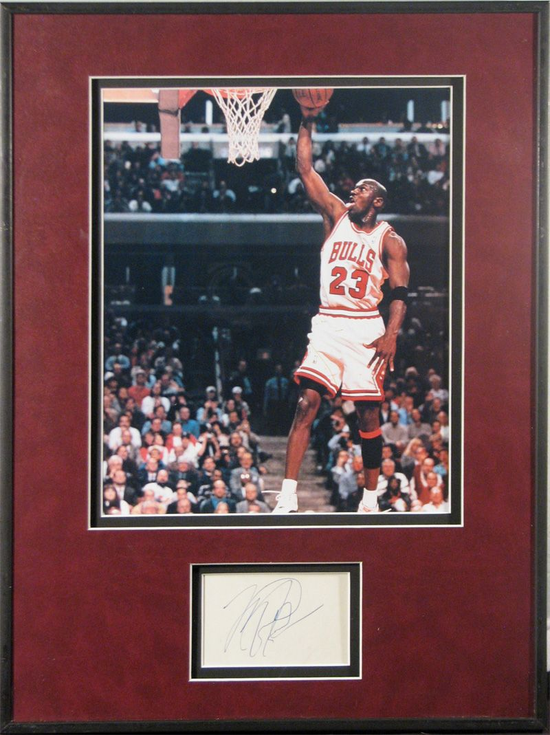 4df79158386 Lot Detail - Michael Jordan Framed Photograph and Hand Cut Signature ...