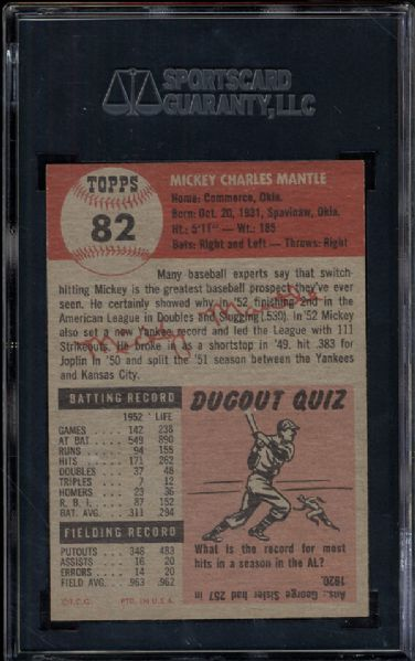 1953 Topps #82 Mickey Mantle SGC 88 NM/MT 8